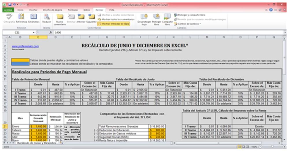 El Recálculo de Junio y Diciembre en Excel