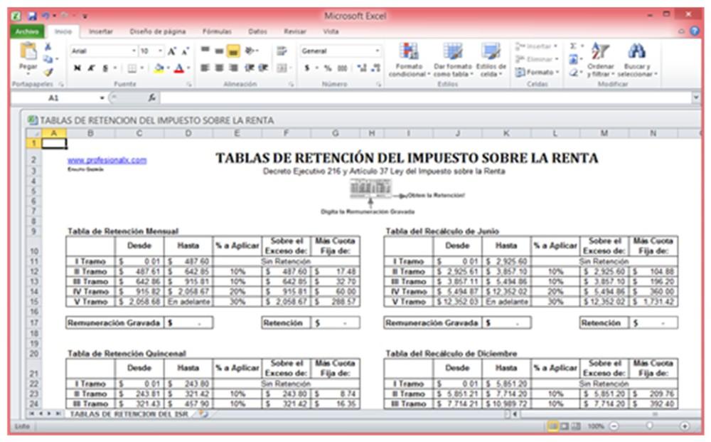 Tablas de Retención del Impuesto sobre la Renta en Excel