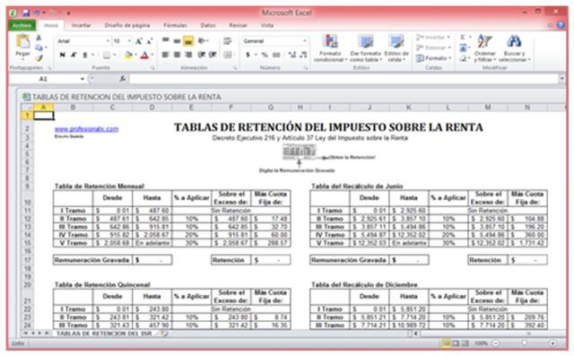 TABLAS DE RETENCION DEL IMPUESTO SOBRE LA RENTA
