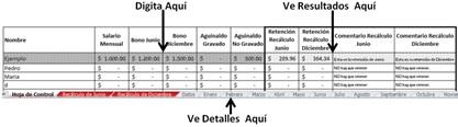 planilla de sueldos y salarios para el recáculo de renta en El Salvador
